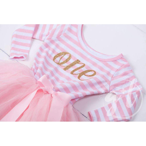 "1st Birthday Dress Gold Script ""ONE"" Pink Stripe Long Sleeve Dress, White Leg Warmers & Pink Hat - Grace and Lucille"