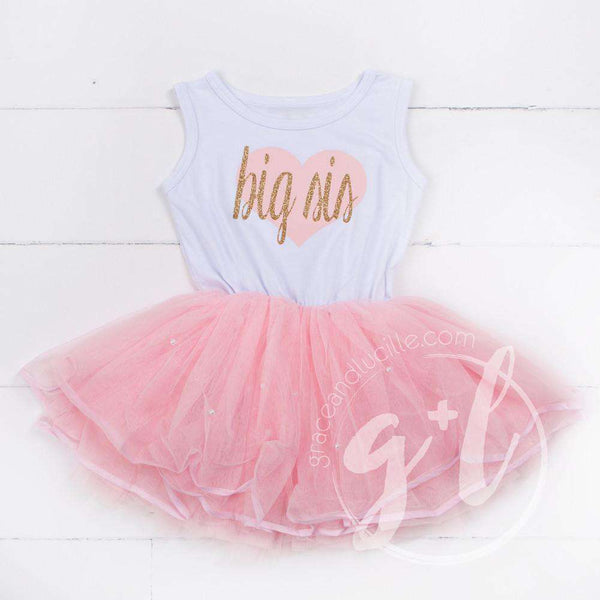 Big Sis Dress Pink/Gold Heart White Sleeveless Pink Tutu Dress - Grace and Lucille