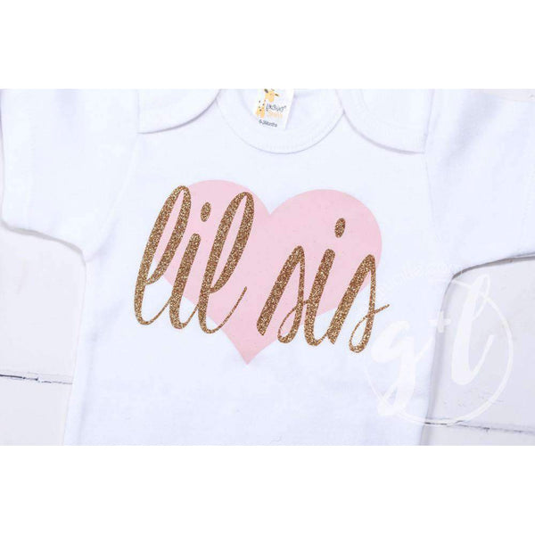 Lil Sis White Onesie Bodysuit with Pink/Gold Heart - Grace and Lucille