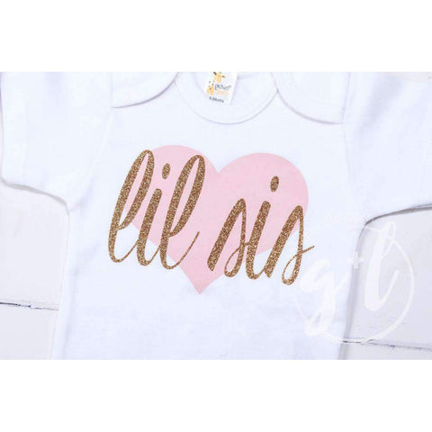 Lil Sis White Onesie Bodysuit with Pink/Gold Heart