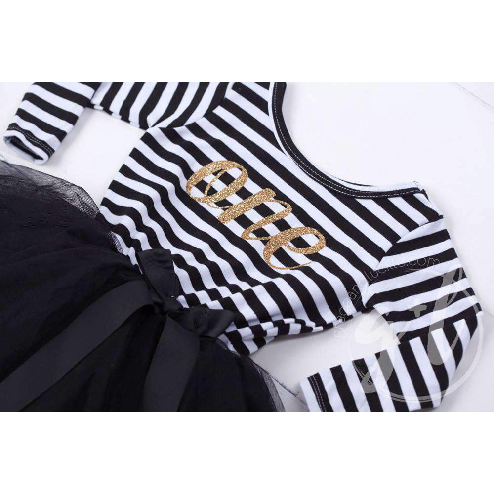 "1st Birthday Dress Gold Script ""ONE"" Black Striped Long Sleeves - Grace and Lucille"
