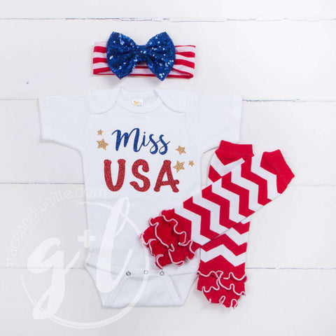 """Miss USA"" 4th of July Onesie Outfit, Red Chevron Leg Warmers & Blue Sequin Bow Headband"