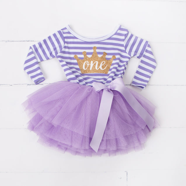 "1st Birthday Dress Gold Crown ""ONE"" Purple Stripe Long Sleeves - Grace and Lucille"