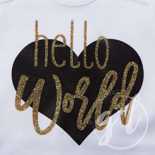 """Hello World"" Black & Gold Heart Onesie & Gold Sequin Two-in-One Bow/Belt, Welcome Home Outfit - Grace and Lucille"