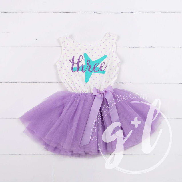 3rd Birthday Outfit Starfish & THREE on Purple Polka Dot Sleeveless Dress, Purple/Silver Party Hat - Grace and Lucille