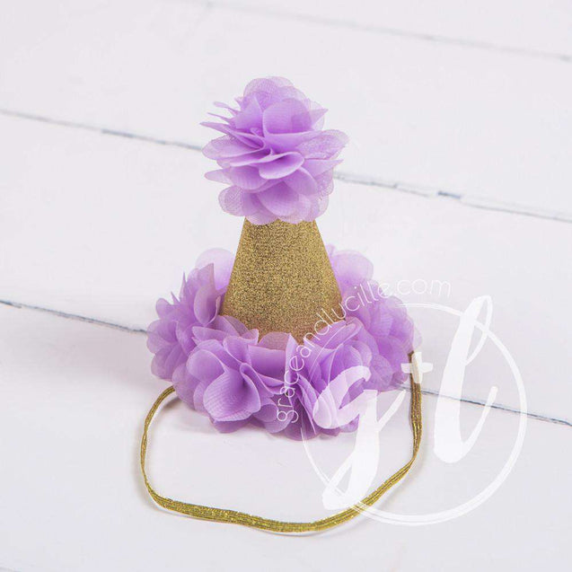 Princess Party Hat, Sparkly Gold and Purple - Grace and Lucille