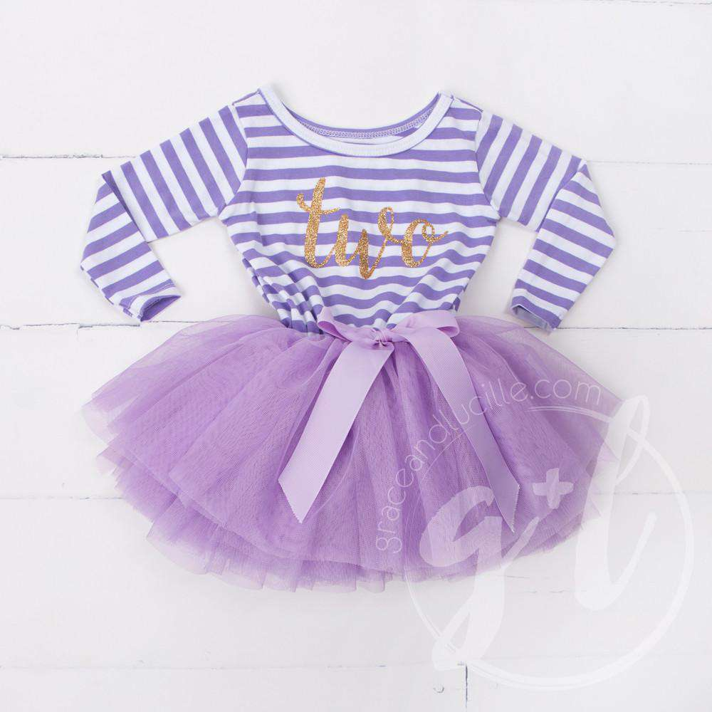 "2nd Birthday Dress Gold Script ""TWO"" Purple Striped Long Sleeve - Grace and Lucille"