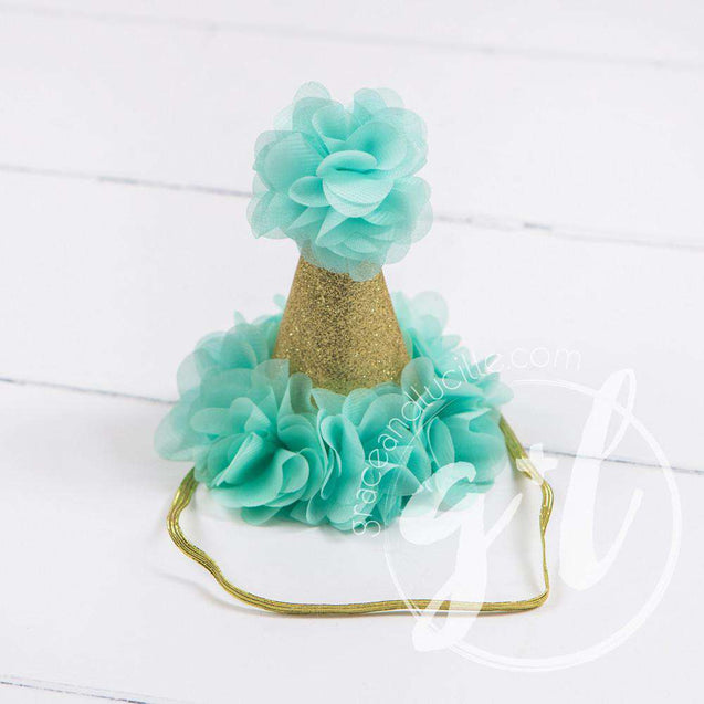 Princess Party Hat, Sparkly Gold and Mint - Grace and Lucille