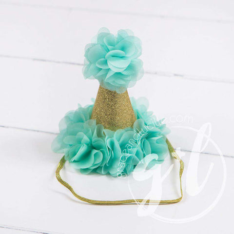 Princess Party Hat, Sparkly Gold and Mint