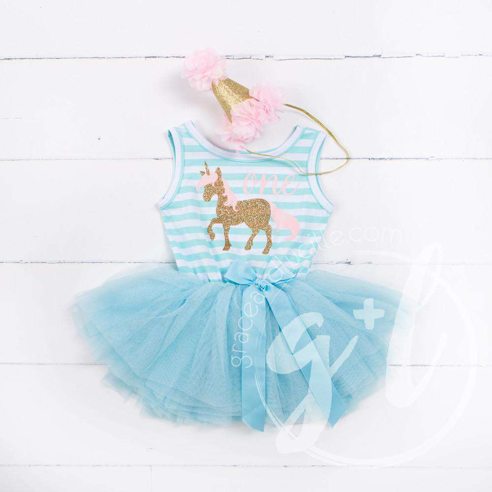 1st Birthday Outfit Prancing Unicorn & \