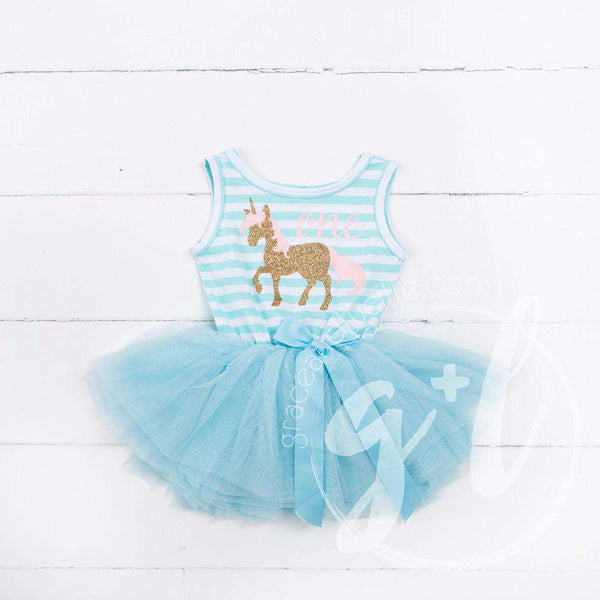 "1st Birthday Outfit Prancing Unicorn & ""ONE"" on Aqua Striped Sleeveless Dress, Pink/Gold Party Hat"
