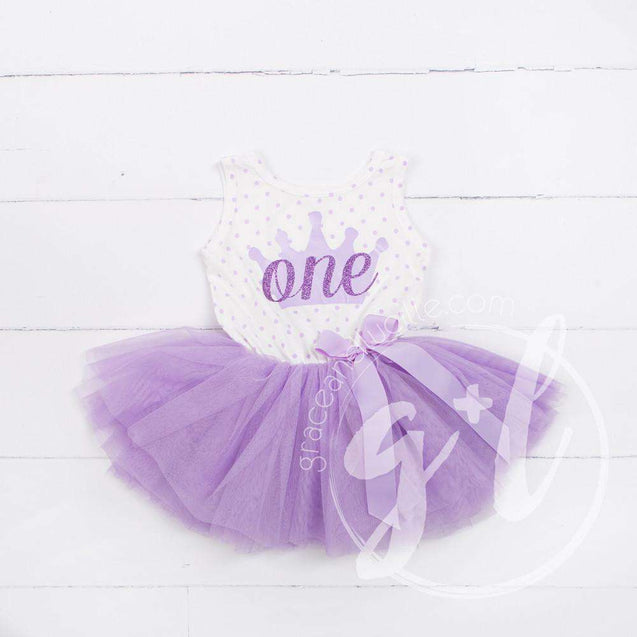 "1st Birthday Outfit ""ONE"" Crown Purple Polka Dot Sleeveless Dress & Purple Party Hat - Grace and Lucille"