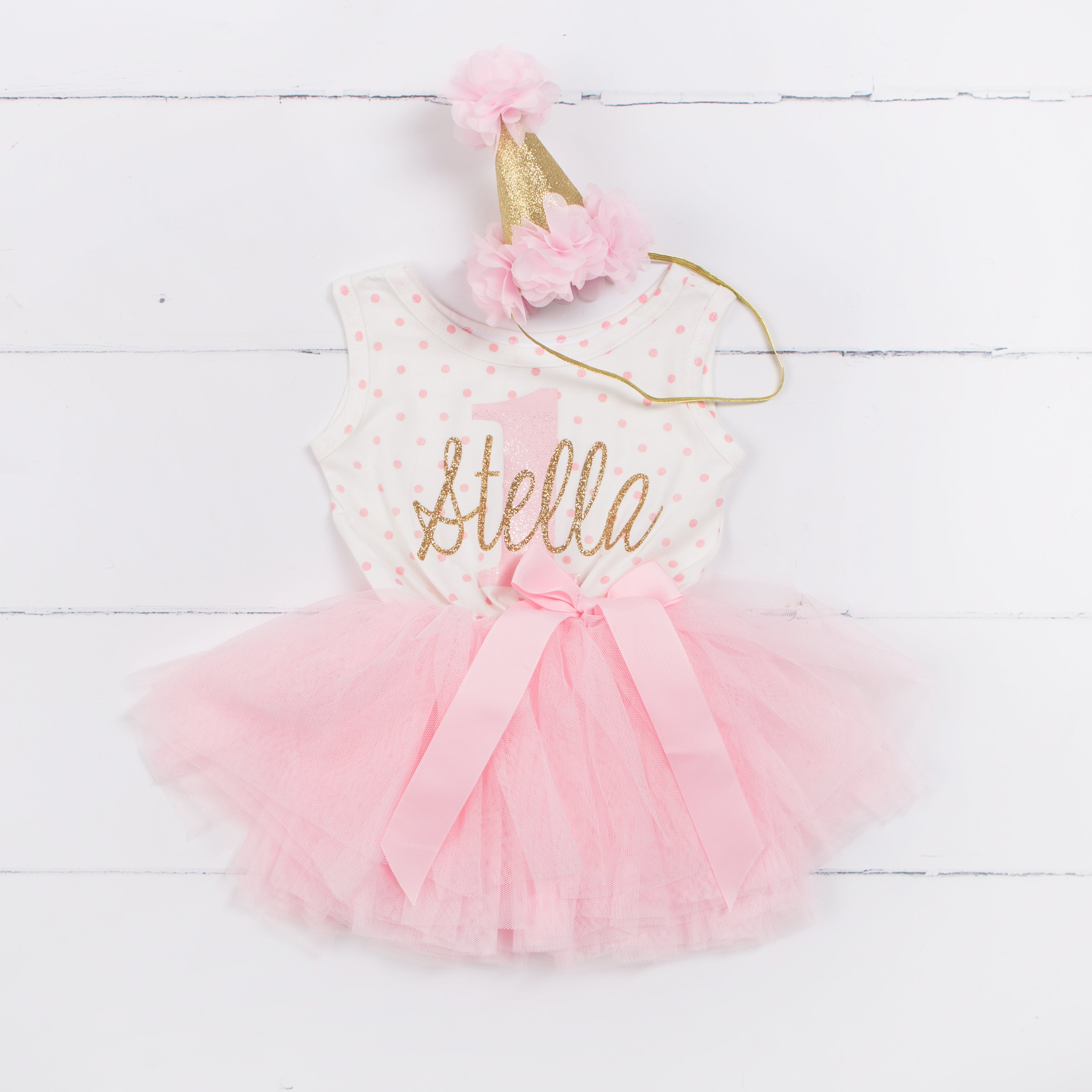 "1st Birthday Outfit ""Her Name & 1"" Pink Polka Dot Sleeveless Dress & Pink Party Hat"