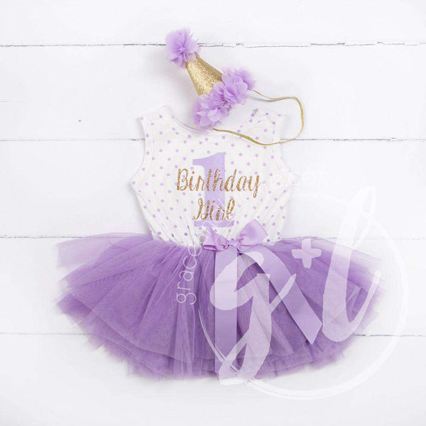 "1st Birthday Outfit ""Birthday Girl & 1"" Purple Polka Dot Sleeveless Dress & Purple Party Hat"