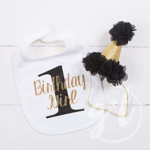 First Birthday Bib & Princess Party Hat Set, Sparkly Gold and Black