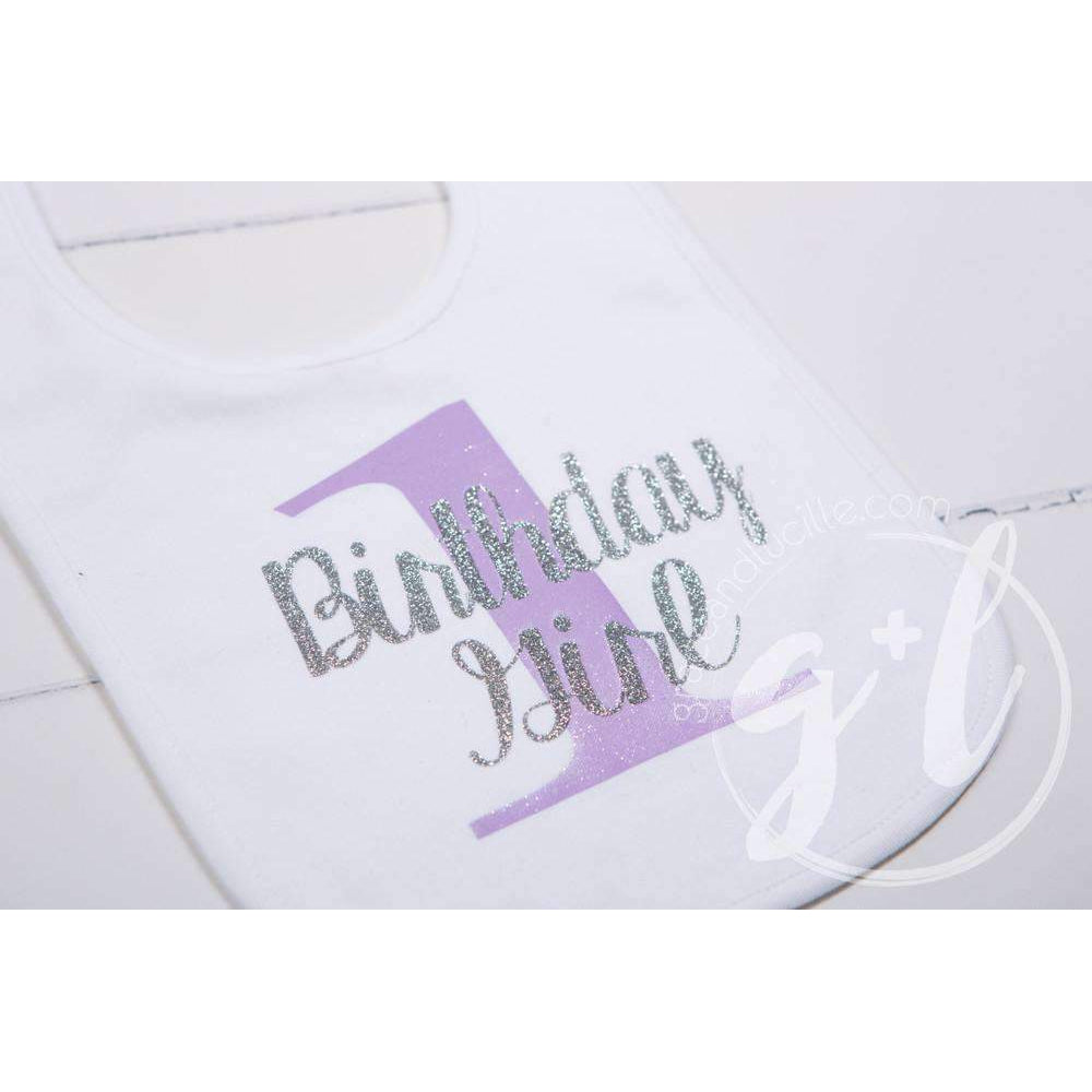 First Birthday Bib & Sequin Bow Headband Set, Sparkly Silver and Purple Stripe