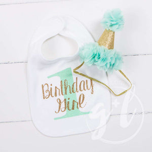 First Birthday Bib & Princess Party Hat Set, Sparkly Gold and Mint - Grace and Lucille