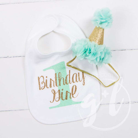 First Birthday Bib & Princess Party Hat Set, Sparkly Gold and Mint