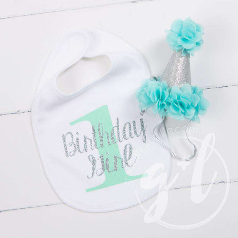 First Birthday Bib & Princess Party Hat Set, Sparkly Silver and Aqua