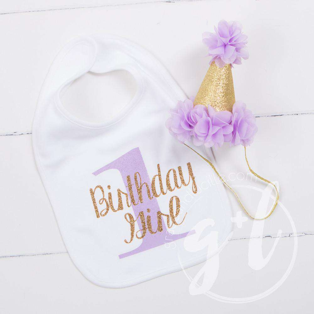 First Birthday Bib Princess Party Hat Set Sparkly Gold And Purple