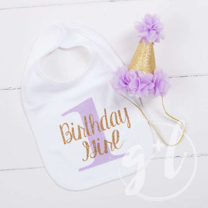 First Birthday Bib & Princess Party Hat Set, Sparkly Gold and Purple - Grace and Lucille