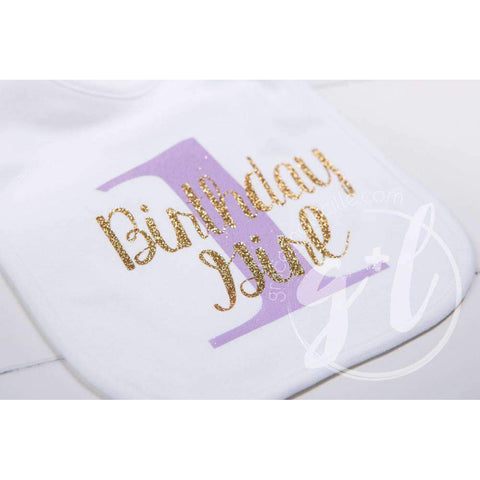 First Birthday Bib & Princess Party Hat Set, Sparkly Gold and Purple