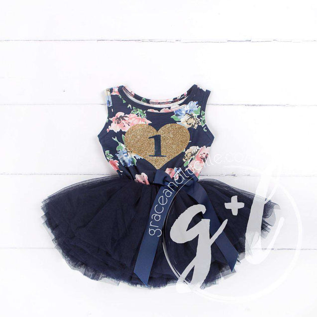 "1st Birthday Outfit Gold Heart ""1"" Navy Floral Sleeveless Tutu Dress & Pink Party Hat - Grace and Lucille"