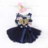 "1st Birthday Outfit Gold Heart ""1"" Navy Floral Sleeveless Tutu Dress & Pink Party Hat"
