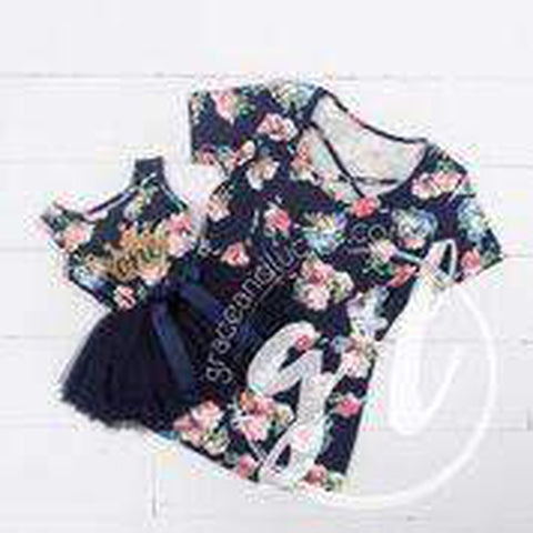 "2nd Birthday Dress Gold Heart ""TWO"" on Navy Floral Sleeveless Tutu Dress - Grace and Lucille"