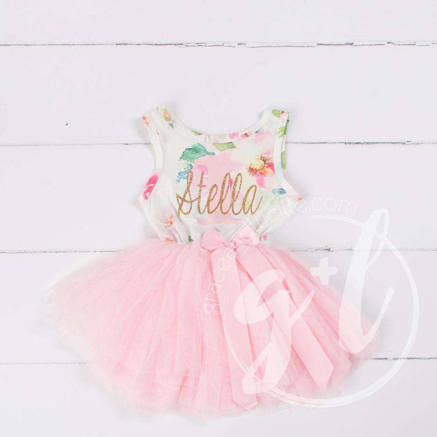 "Pink Floral ""Her Name"" Sleeveless Tutu Dress & Gold Bow on Pink Headband - Grace and Lucille"