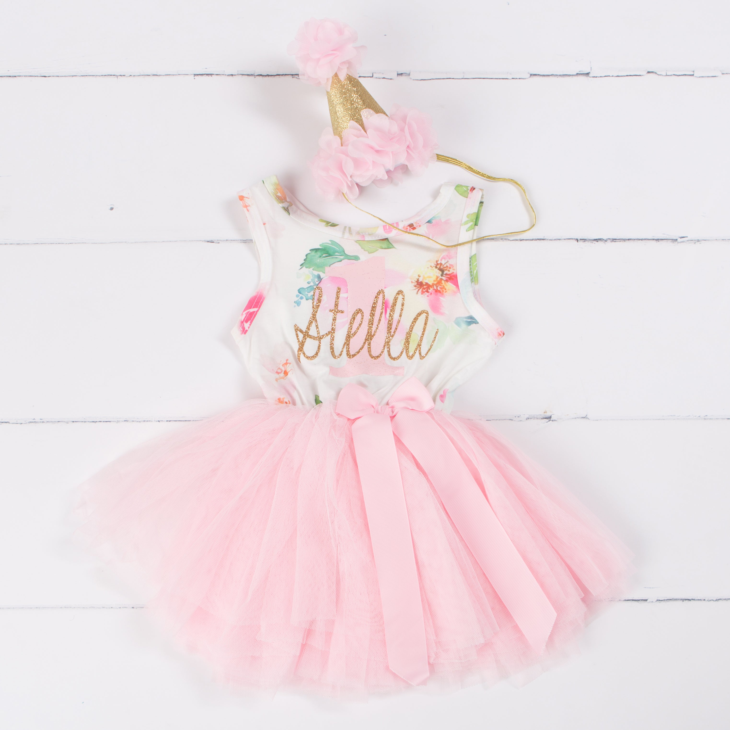 "Pink Floral ""Her Name"" Sleeveless Tutu Dress & Pink Party Hat"