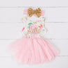 "Pink Floral ""Her Name"" Sleeveless Tutu Dress & Gold Bow on Pink Headband"