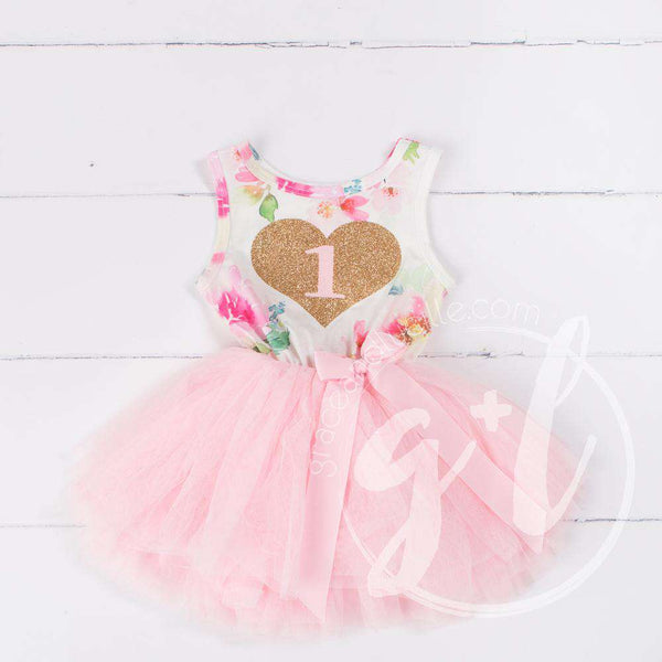 "Pink Floral Heart of Gold 1st Birthday Outfit, ""1"" Pink Floral Sleeveless Dress & Pink Party Hat - Grace and Lucille"