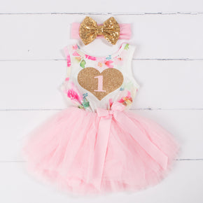 "Pink Floral Heart of Gold 1st Birthday Outfit, ""1"" Pink Floral Sleeveless Dress with Gold & Pink Headband"