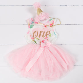 "Pink Floral Heart 1st Birthday Outfit, ONE"" Pink Floral Sleeveless Tutu Dress & Pink Party Hat"