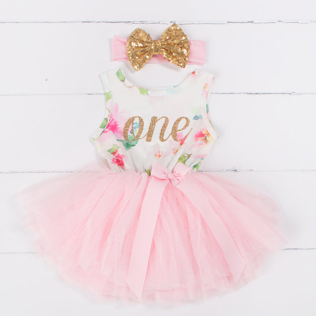 "Pink Floral First Birthday Outfit, ""ONE"" Pink Floral Sleeveless Dress with Gold & Pink Headband"