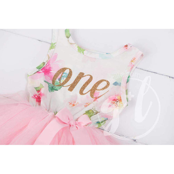 "Pink Floral First Birthday Outfit, ""ONE"" Pink Floral Sleeveless Dress with Gold & Pink Headband - Grace and Lucille"