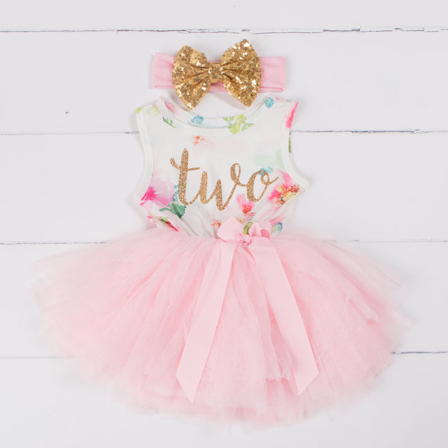"Pink Floral Second Birthday Outfit, ""TWO"" Pink Floral Sleeveless Dress with Gold & Pink Headband"
