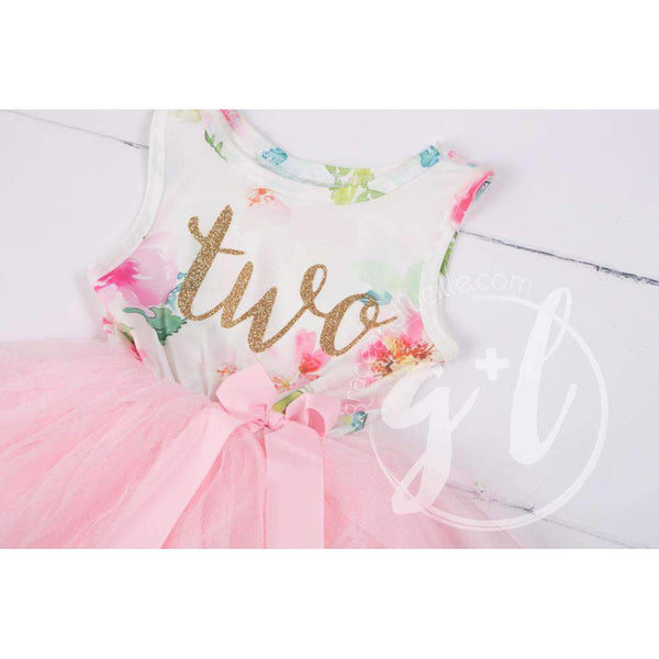 "Pink Floral Second Birthday Outfit, ""TWO"" Pink Floral Sleeveless Dress with Gold & Pink Headband - Grace and Lucille"