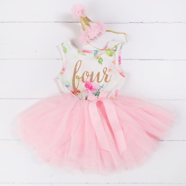 "Pink Floral Fourth Birthday Outfit, ""FOUR"" Pink Floral Sleeveless Dress with Pink Party Hat - Grace and Lucille"