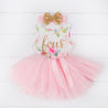 "Pink Floral Fourth Birthday Outfit, ""FOUR"" Pink Floral Sleeveless Dress with Gold & Pink Headband"