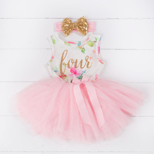 "Pink Floral Fourth Birthday Outfit, ""FOUR"" Pink Floral Sleeveless Dress with Gold & Pink Headband - Grace and Lucille"