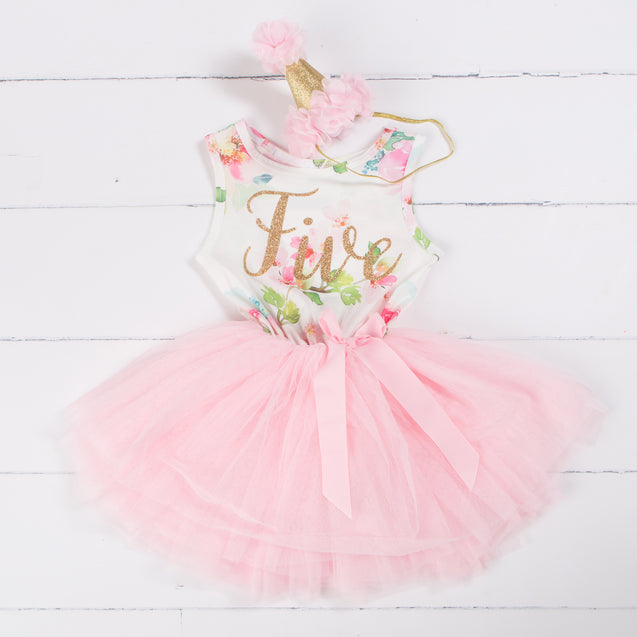 "Pink Floral Fifth Birthday Outfit, ""FIVE"" Pink Floral Sleeveless Dress with Pink Party Hat"