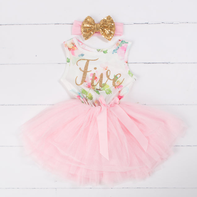 "Pink Floral Fifth Birthday Outfit, ""FIVE"" Pink Floral Sleeveless Dress with Gold & Pink Headband"