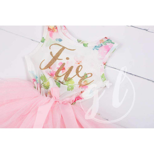 "Pink Floral Fifth Birthday Outfit, ""FIVE"" Pink Floral Sleeveless Dress with Gold & Pink Headband - Grace and Lucille"