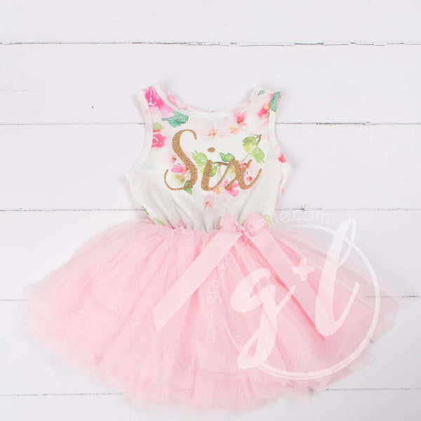 "Pink Floral Sixth Birthday Outfit, ""SIX"" Pink Floral Sleeveless Dress with Gold & Pink Headband - Grace and Lucille"