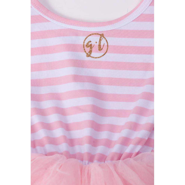 Lil' Sis Dress Gold Script Pink Striped Sleeveless - Grace and Lucille