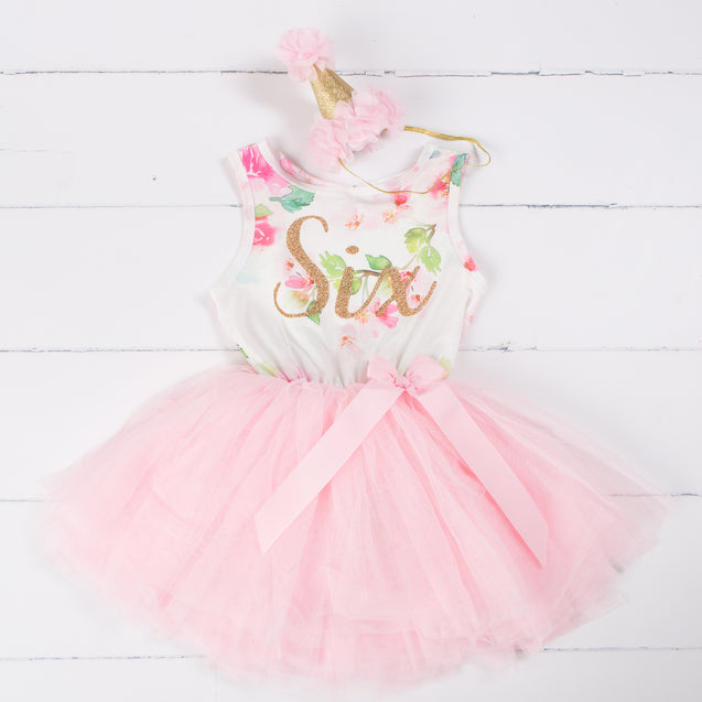 "Pink Floral Sixth Birthday Outfit, ""SIX"" Pink Floral Sleeveless Dress with Pink Party Hat"
