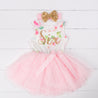 "Pink Floral Sixth Birthday Outfit, ""SIX"" Pink Floral Sleeveless Dress with Gold & Pink Headband"