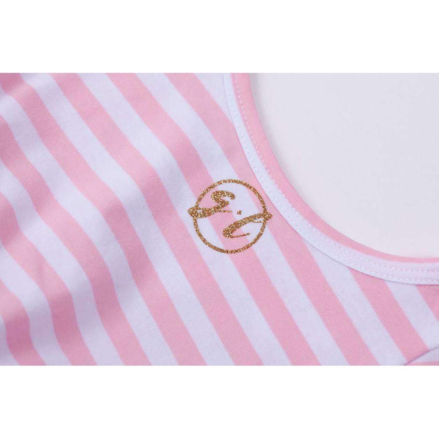 "2nd Birthday Dress Gold Script ""TWO"" Pink Striped Sleeveless - Grace and Lucille"